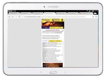 Sito di pizzeria visto su Tablet a dimensione 320 come su smartphone