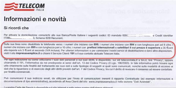 Bolletta Telecom con numeri disabilitati