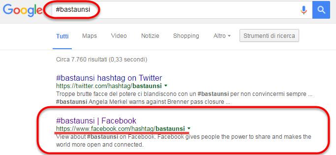 HashTag di Facebook nelle riceche di Google