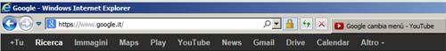 Google menu del siti a banda nera in alto nella pagina
