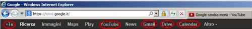 Google menu del sito con presenza di link esterni al sito stesso