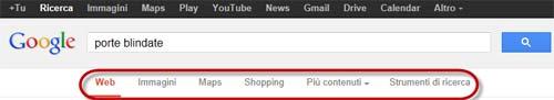 Google nuovo menu di ricerca sotto il box di ricerca