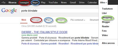 Ripetizione di link fra i due menu di Google